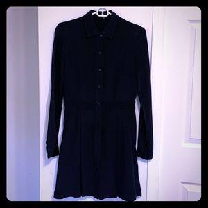 Theory Navy Silk Shirtdress